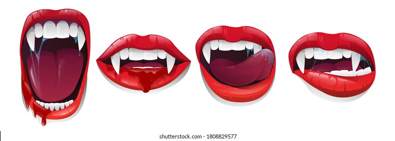 Halloween set vampire lips and mouth with fangs on white background. Red lips with long pointed canine teeth and bloody saliva express different emotions. Vector illustration