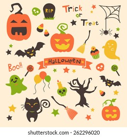 Halloween set of vectors with ribbon banner, pumpkins, bats, spider webs,black cat, ghosts, skulls, cupcakes, done in simple cartoon style with orange, dark brown, green and yellow color scheme.