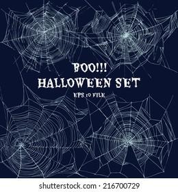 Halloween set with web. Vector Illustration.