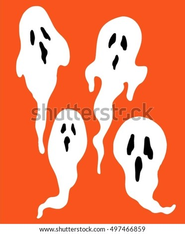 Halloween, set of white ghosts on a orange background