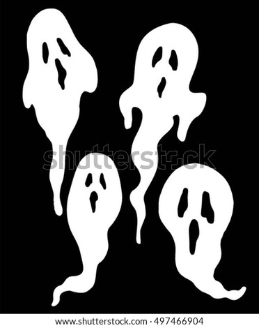 Halloween, set of white ghosts on a black background