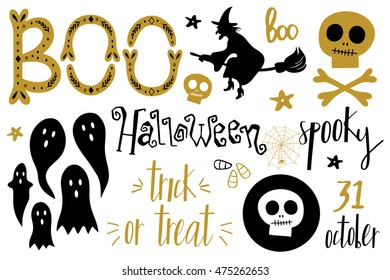 halloween set pumpkin socks witch ghost stock vector royalty free