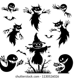 Halloween set.Pumpkin , broom , ghost as elements for halloween design.Scary.
