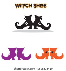 Halloween shoe witch shoe witch leg Silhouette vector design black and white SVG Sticker graphics