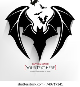 halloween silhouette bats, scary cartoon concept. eps10 vector
