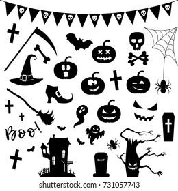 Halloween silhouette icon set.Vector illustration.