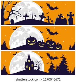 Halloween Silhouette Illustration Cover. pumpkin, graveyard, and House icon For Your Design Cover, Card, poster, invitation, etc.