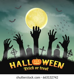 halloween silhouette zombie hand in night graveyard