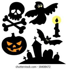 Halloween silhouettes collection 2 - vector illustration.