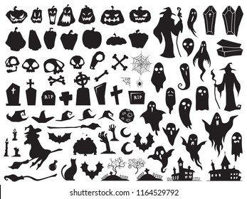 Halloween silhouettes. Spooky evil witch, creepy grave coffin, cat broom and wizard silhouette. Pumpkin, bat spider broomstick and ghost decoration vector illustration isolated icon set