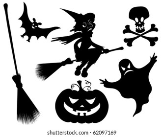 Halloween silhouettes. Witch, pumpkin, witches broom, skeleton, bat, skull and ghost.