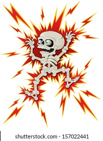 Halloween Skeleton gets a Shock. Vector illustration of a very lively Halloween Skeleton who has had a bit of a shock.