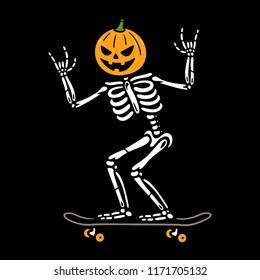 HALLOWEEN SKELETON PUMPKIN HEAD ON SKATEBOARD COLOR BLACK BACKGROUND