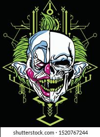 halloween skull clown with sacred geometry