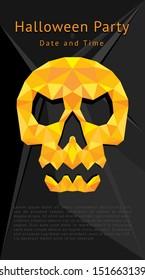 Halloween skull party flyer vector template