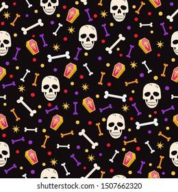 Halloween skull seamless pattern on black background. halloween skull pattern background. vector illustration