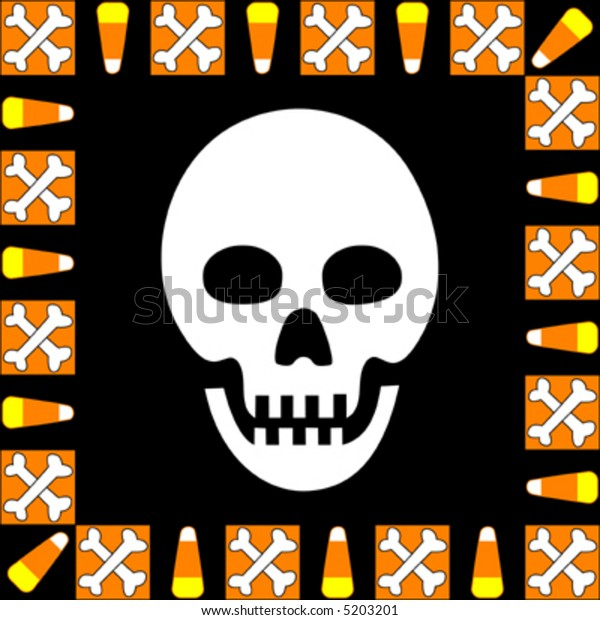 Halloween skull surrounded by border of candy corn and crossbones.