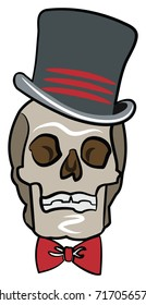 Halloween Skull with Top Hat and Red Bow TIe