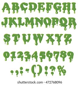 Halloween slime font alphabet with numbers isolated on white background. English font in slime drip texture set collection vector illustration