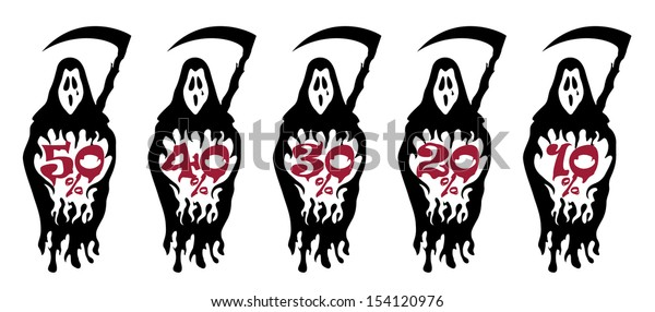 Halloween special offer price tags with grim reaper illustration