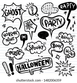 Halloween speech bubbles set with text,  Halloween, trick or threat, party, spooky,boo,magic,wow  etc. Halloween design elements