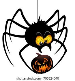 Halloween Spider Cartoon holding a Pumpkin