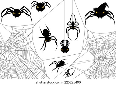 Halloween spider design set - monster arachnids among spiderweb vector silhouettes