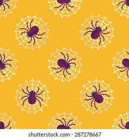 Halloween Spider flat icon,eps10 seamless pattern background