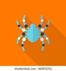 Halloween spider icon, Vector flat long shadow design. Halloween concept.