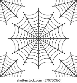 Halloween spider web,  black contour on white background. vector illustration. seamless pattern.