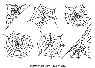 Halloween spider web isolated on white background. Hector venom cobweb set. Vector illustration