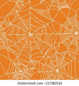 Halloween spider web seamless pattern. Vector background