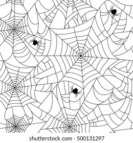 Halloween spider web seamless pattern with spiders. White background and black cobweb. Seamless vector background.