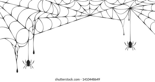 Halloween spiderweb border with hanging spiders. Vector isolated spooky background for october night party and invitations.