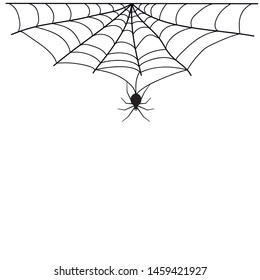 Halloween spiderweb border with hanging spiders. Vector isolated spooky background