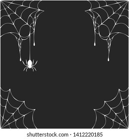 Halloween spiderweb corner frame with hanging spiders. Vector isolated spooky background for october night party.