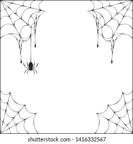 Halloween spiderweb corner frame with hanging spiders. Vector isolated october night party spooky web background.