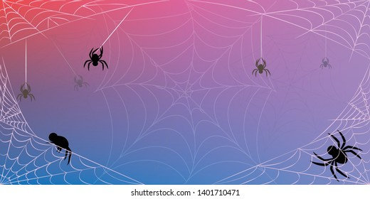 Halloween spiderweb vector background with spiders,Cobweb backdrop illustration isolated on Pink, purple and blue