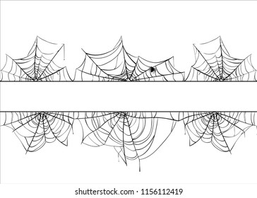 Halloween spiderweb vector border. Cobweb frame background illustration isolated on white