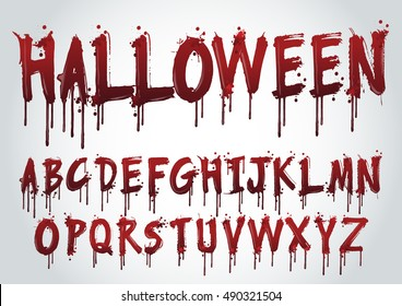 Halloween Splash Alphabet,Set of various blood or paint splatters,Vector Set of different blood splashes, drops and trail. Isolated on white background.