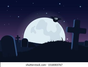 Halloween spooky flat vector background. Scary graveyard at night cartoon illustration. Horror moon, owl and gravestones creepy backdrop. Helloween gothic composition with cemetery wallpaper