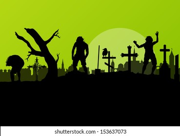 Halloween spooky graveyard, cemetery vintage background with grave crosses, raven and zombie