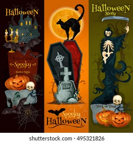 Halloween spooky party decoration banners with halloween pumpkin, dark night graveyard, skeleton scythe, vampire coffin, black cat. Horror night party vector placard, poster design