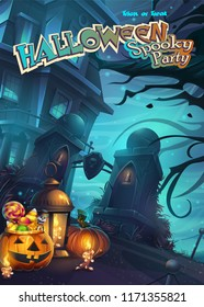 Halloween Spooky Party - vector illustration mobile format screen. Bright background image to create original video or web games, graphic design, screen savers.