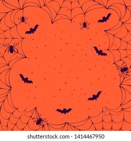 Halloween spooky spiderweb frame with bats and spiders in the night sky. Vector isolated horror border for october party flyer.