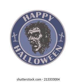 Halloween stamp.  hand drawn. vector illustration eps8