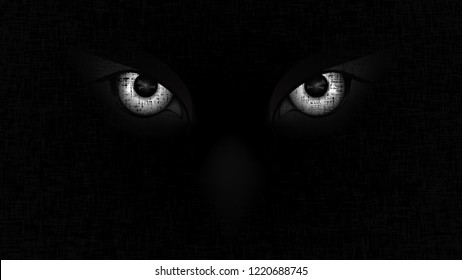 Halloween staring scary spooking evil Owl eyes on dark Halloween staring scary spooking evil Owl eyes on dark grunge background