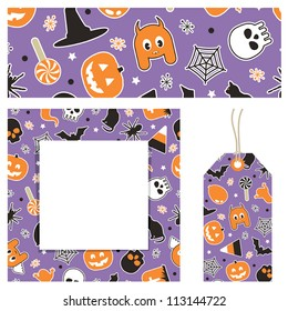 halloween stationery with banner, note card and gift tag