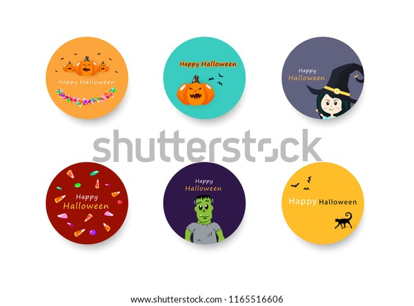 Halloween Sticker Banner Circles Collection Set Stock Vector