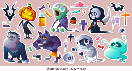 Halloween stickers with monsters, bats, candies